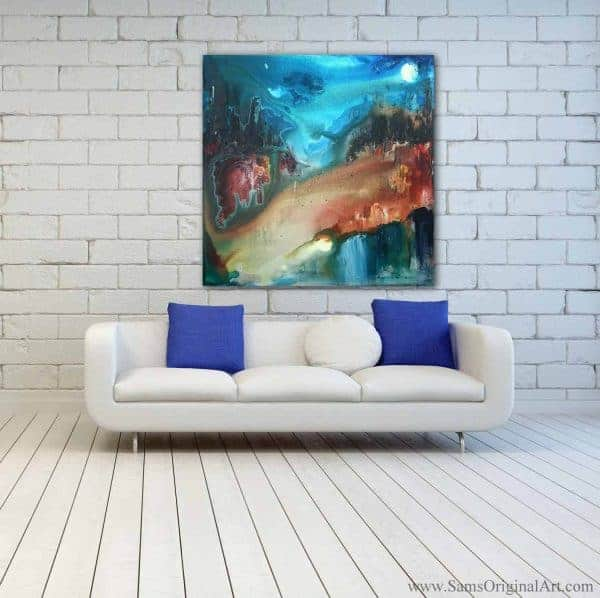 Contemporary paintings for behind sofa