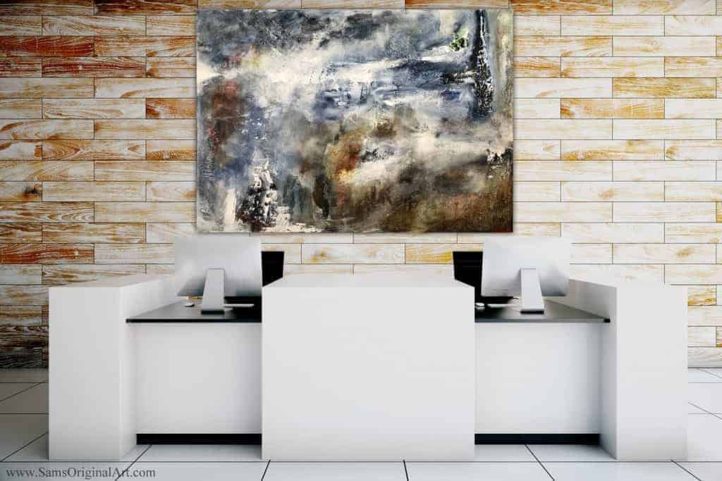 huge white grey blue brown abstract painting