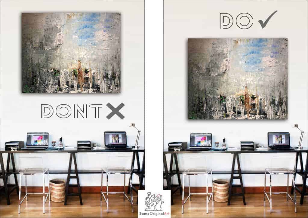 how to hang a painting over desk