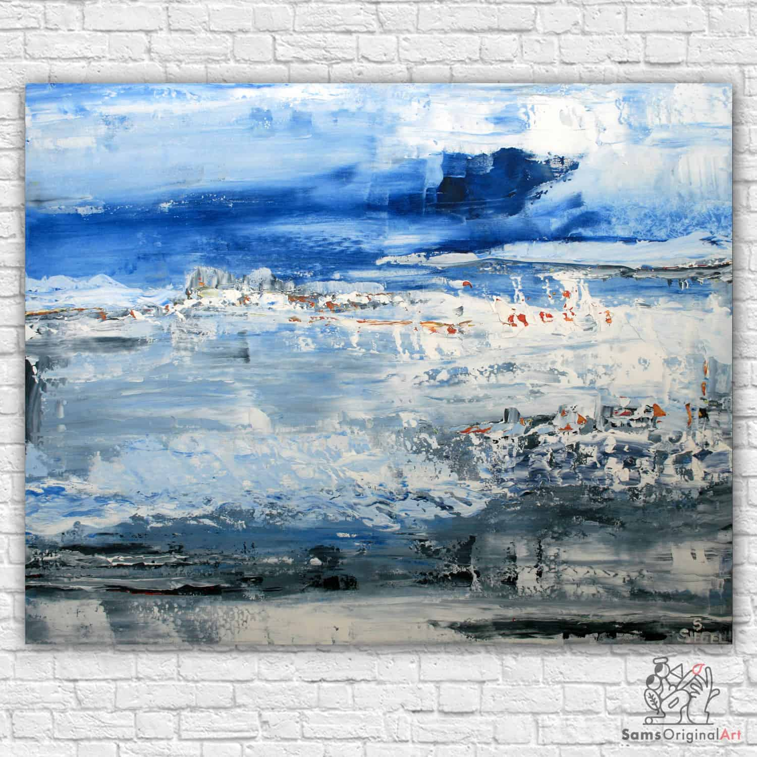blue and white abstract painting vancouver