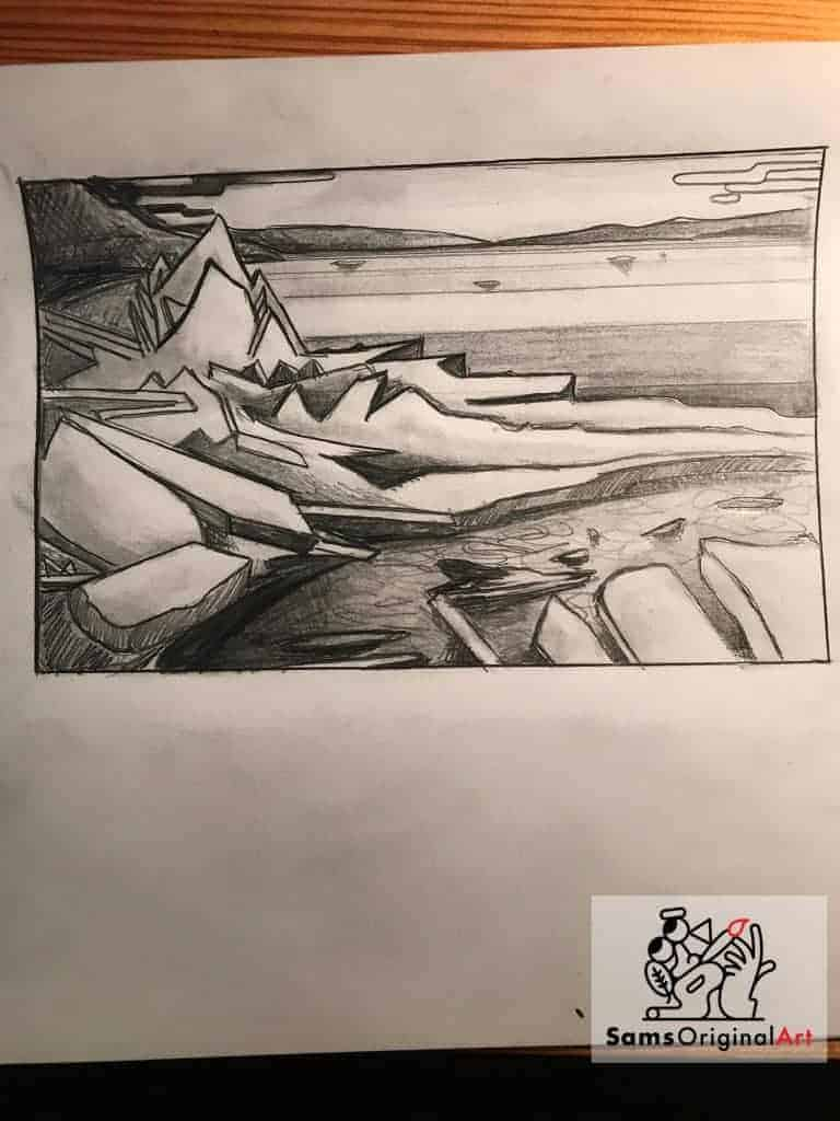 iceberg sketch by Sam Siegel