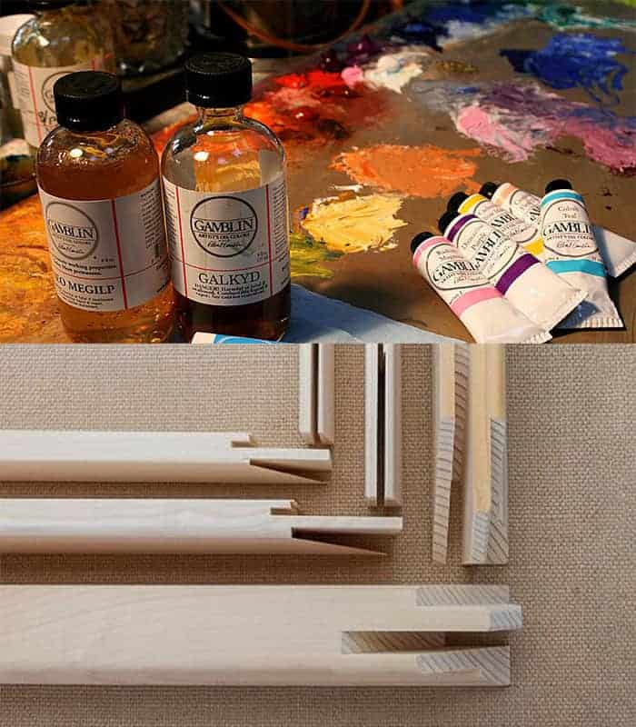 oil paints and frames